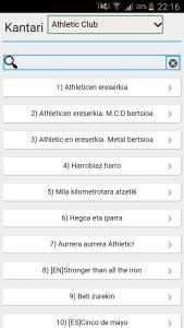 Athletic Club-en liburukia Kantari App-ean